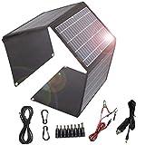 Cargador solar 28W Panel solar plegable 2 puertos USB 1 puerto DC portátil impermeable...