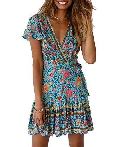 Abravo Mujer Vestido?Bohemio Corto Florales Nacional Verano Vestido Casual Magas Cortas Chic de Noche Playa Vacaciones,Azul,XL